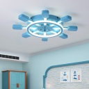 Sky Blue Round Rudder Flush Mount Mediterranean Acrylic LED Lighting Fixture for Boys Bedroom