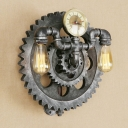 Antique Silver Open Bulb Wall Light with Gear Decoration Retro Style Metal 2 Bulbs Sconce Light