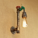Aged Bronze Bare Bulb Wall Light with Faucet Decoration Vintage Iron 1 Bulb Wall Lamp