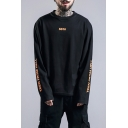 Guys Cool Street Style Letter TEEN FROM HELL Printed Long Sleeve Black Cotton Oversized T-Shirt
