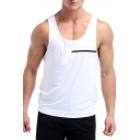 Men's Simple White Fashion Tape Patched Quick-Drying Running Athletic Tank Top