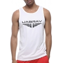 Unique Letter Eagle Printed Men's Breathable Quick Dry Basketball Athletic Tank Top