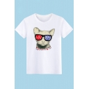 Cute Cartoon Dog Letter HAPPY Pattern Round Neck Short Sleeve Cotton T-Shirt