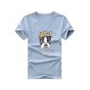 Men's V-Neck Short Sleeve Funny Cartoon Dog Letter LET'S BE FRIENDS OK Pattern Loose Fit T-Shirt