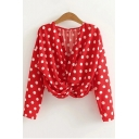 Fashion Twist V-Neck Polka Dot Printed Long Sleeve Blouse