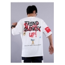 Street Style Cool Letter TREND GLENCEY Pattern Half Sleeve Loose Fitted Casual T-Shirt