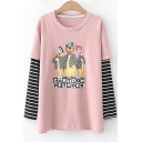 Cute Cartoon Network Printed Striped Patched Long Sleeve Cotton Casual T-Shirt