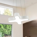Acrylic Cross LED Office Lighting Modern Style White Finish Ceiling Pendant Lamp 18