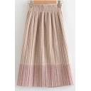 Winter New Fashion Colorblock Elastic Waist Woolen Skirt