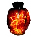 3D Red Fired Rose Printed Long Sleeve Hot Popular Red Hoodie