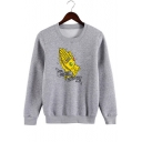 Unisex Long Sleeve Round Neck Hand Printed Leisure Cozy Regular Fitted Sweatshirt