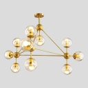 Gold Finish Ball Drop Light Luxury Designers Style Metal Multi Light Chandelier for Hall