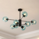 Globe Suspension Ceiling Light Designers Style Faded Blue Glass 8 Light Chandelier for Corridor