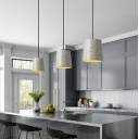 Cylinder Ceiling Lamp Designers Style Length Adjustable Concrete Suspended Light in White