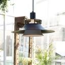 Shallow Flared Suspended Light Industrial Length Adjustable Metal Drop Light in Black