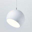 Half Globe LED Suspended Light Contemporary Rotatable Metal Hanging Lighting in White