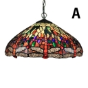 Antique Design Tiffany 2-Light Ceiling Pendant Fixture with Dragonfly Pattern Glass Shade in Multicolored Finish