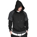 Men's Fashion Colorblock Patched Long Sleeve Raglan Sleeve Regular Fitted Drawstring Hoodie