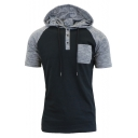Men's Casual Leisure Short Sleeve Colorblock Button-Embellished Front Pocket Chest Hoodie
