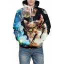 Fancy Glasses Cat Galaxy Pattern Long Sleeve Casual Hoodie
