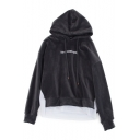 Fashion Letter Embroidered Colorblock Patchwork Hem Long Sleeve Thick Velvet Grey Hoodie