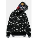 Unique Letter Embroidered Shark Mouth Print Long Sleeve Kangaroo Pocket Full Zip Camouflage Black Hoodie
