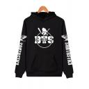 Boys Cool Skull Boy Band Logo Print Letter Long Sleeve Kangaroo Pocket Pullover Hoodie