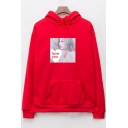 Oversize Long Sleeve Letter LOVE YOU Character Portrait Drawstring Hoodie