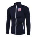 Fashion Letter USA American Flag Print Chest Stand Collar Long Sleeve Fitted Navy Zip Sweatshirt