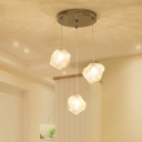 3 Light Stone Shape Suspension Lamp Hand Blown Glass Decorative Pendant Light for Dining Table