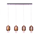 Cylinder Shade Suspended Light Modern Chic Brown Glass 4 Heads Pendant Lamp for Living Room