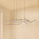 Brown Finish Linear Pendant Light Modern Metal 4 Light Hanging Lamp for Dining Room