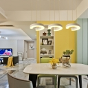 C Shaped LED Suspension Light Simple Concise Acrylic 3-Light Drop Light for Living Room