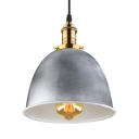 Industrial Dome Hanging Pendant Light in Old Silver for Kitchen Pool Table Restaurant