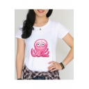 Basic White Round Neck Short Sleeve Lovely Cartoon Pink Octopus Print Fitted T-Shirt