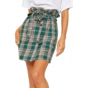 Vintage Green Plaid Printed Bow-Tied Waist Double-Breasted Mini Shift Skirt