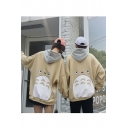 Lovely Cartoon Totoro Printed Long Sleeve Loose Fit Relaxed Hoodie for Couple