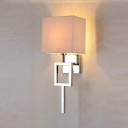 Simplicity Square Wall Mount Fixture with Beige Fabric Shade 1 Head Wall Lighting for Bedside