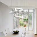 Crystal LED Suspension Light Luxury Modern Stainless Chandelier Lamp in Warm/White