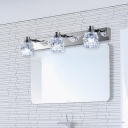 Multi Light Crystal Wall Light Modern Fashion Stainless LED Makeup Lighting Fixture in Chrome for Mirror