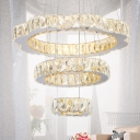 Gold 3-Ring Hanging Lamp Modern Design Crystal Art Deco LED Suspension Light for Restaurant
