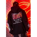 Street Style Hip Hop Fashion Figure Letter Printed Loose Oversized Hoodie