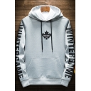 Men's New Trendy Letter WINTER GAME Three-Leaf Printed Thick Regular Fitted Hoodie