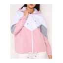 Women's Trendy Fashion Colorblock Drawstring Hem Long Sleeve Zip Up Hooded Track Coat