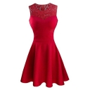 New Trendy Round Neck Sleeveless Chic Lace-Inserted Simple Plain Mini A-Line Dress