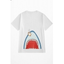 Cute Cartoon Shark Mouth Printed Loose Leisure Summer Unisex Cotton T-Shirt