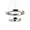 Crystal 2 Tiered Ring Chandelier Modernism LED Ceiling Pendant Light in Chrome for Living Room
