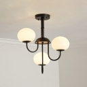 3 Lights Oval Hanging Light Modernism Opal Glass Chandelier in Black/White for Living Room
