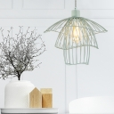 Contemporary Metal Cage Pendant Light Metallic Suspended Light in Green for Coffee Shop