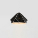 Metal Folded Suspended Light Contemporary Single Head Pendant Light in Black for Living Room